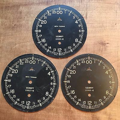 "Three Original US Navy Ship's Clock 6"" Dials - Seth Thomas"