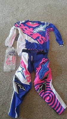 Alpinestars Techstar Venom 28 Pant Jersey Glove  pink blue white gear set