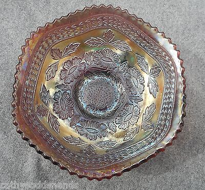 Antique Fenton Amethyst Carnival Glass Two Flowers Footed Sauce/Berry Bowl