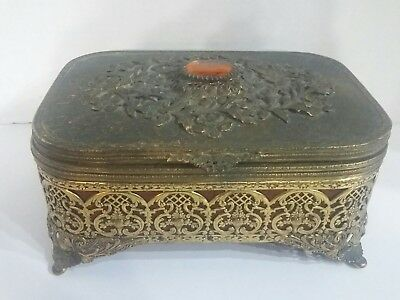 Vintage 24kt Gold Plated Globe Jewelry Box with Amber Stone
