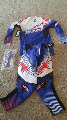 Alpinestars Techstar factory Pant Jersey Glove 32 Large red white blue gear set