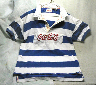 Vintage 1980's COCA COLA RUGBY POLO SHIRT,Blue/White Cotton Short Sleeve.Large L