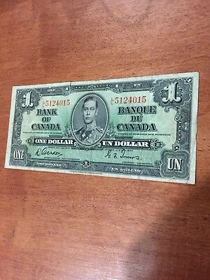 1937 Canada 1 Dollar Bank Note