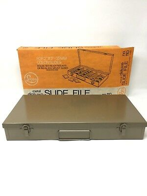 Vtg Logan Deluxe 110 35mm 2x2 Metal Box Slide File Storage Stamp Coin Case Glass