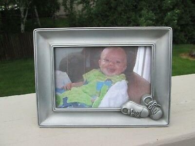 "Pinnacle Brand, Pewter Picture Frame with 3D Baby Booties,  6"" x 4"" Photo, NEW"