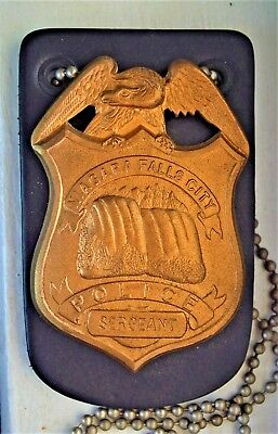 NIAGARA FALLS CITY Police Dept. SERGEANT Badge officer with Leather Holder
