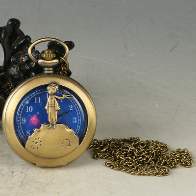 European Exquisite Classical Copper Carved Little Prince Pocket Watch LB37+c