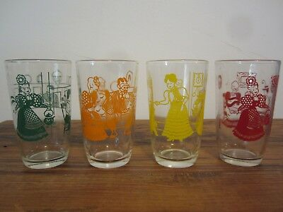 Vintage Swanky Swigs-4 Bustlin' Betsy Juice Glasses- Retro Kitchen Collectible