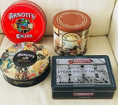 4 X Collectable  Arnott's Biscuit Tins
