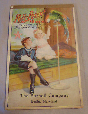 Antique Poll Parrot Shoes for Children Advertising Notepad Purnell of Berlin, MD