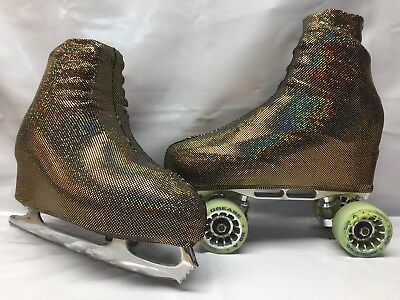 Black Gold Holographic  Boot Covers for Roller Skates/Ice Skates SMALL  ONLY
