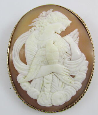 Antique Carved Cameo Lady Holding Bird 10K Yellow Gold Setting Large Pin Brooch