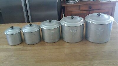Set of 5 vintage Raco aluminium kitchen canisters
