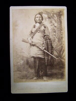 """Early James Gilbert Cabinet Photo of Armed Native American """"Thin Skin"""""""