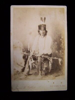"Early James Gilbert Cabinet Photo of Armed Native American ""Yellow Badger"""