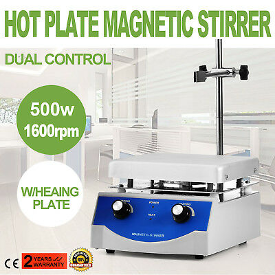 SH-3 Hot Plate Magnetic Stirrer Mixer Stirring 1600rpm Stir Bar Dual Control