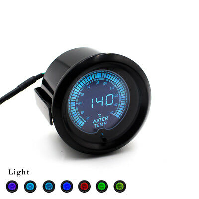 "2"" 52mm Car EVO 7Color Selectable LCD Digital 40-140℃ Water Temp Gauge Meter"