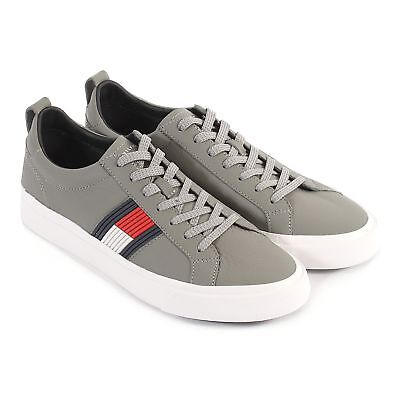 ffd7fb4fe TOMMY HILFIGER MEN S Flag Detail Leather Lace Up Trainer Midnight ...