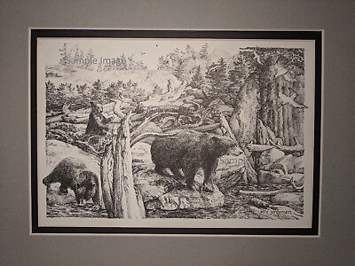 Bears Pacific Northwest Pen and Ink Drawing by Pete Jorgensen 1939-2014