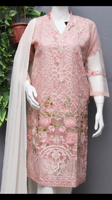 New Organza embroidered Kurta with pearls duppata pearl trousers  .Medium Size