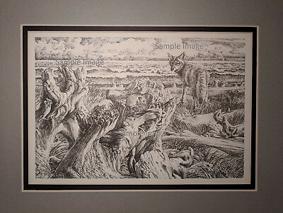 Coyote 1 Pacific Northwest Pen and Ink Drawing by Pete Jorgensen 1939-2014