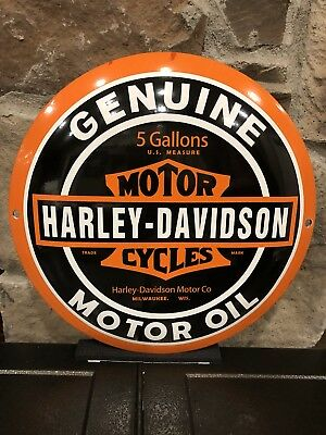 Harley Davidson Motor Oil Button Style  Porcelain Sign