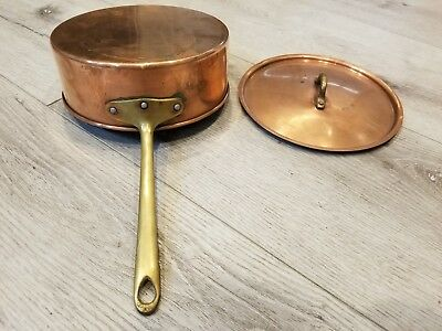 Vintage Copper Pot with Brass Handle and Lid