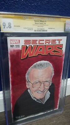 Secret Wars 1 CGC 9.8 Stan Lee Portrait Painted By Tom Carlton