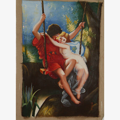 """Hand-painted Oil Painting On Canvas - Pained Adam & Eve 36""""x24"""" DYH037"""