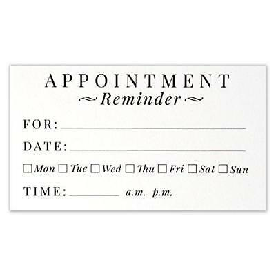 Appointment Reminder Cards - Business Card Size 3.5 X 2 Inches - Pack of 50