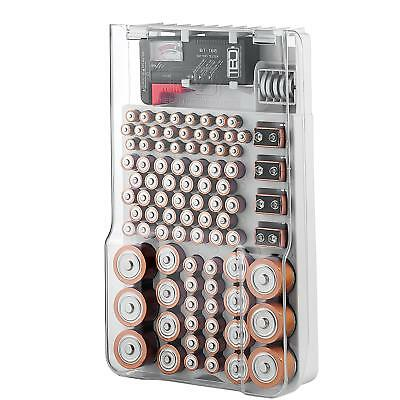 The Battery Organizer Storage Case with Hinged Clear Cover, Includes a Removable