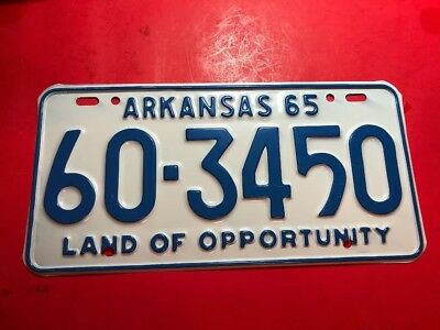1965 ARKANSAS LICENSE PLATE ORIGINAL CONDITION Cleburne County Hebert Springs