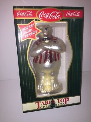 Coca Cola Polar Bear Soda Jerk Mercury Glass Table Top Collection Figurine NEW