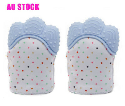 Baby Silicone Mitts Teething Mitten Teething Glove Candy Wrapper Soft Teether AU