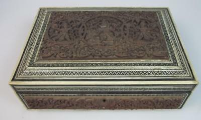A Indian 19th century carved sandalwood micro mosaic stationary box No. 2