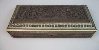 A Indian 19th century carved sandalwood micro mosaic stationary box