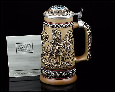 """Indians of the American Frontier Stein, Handmade Brazil Exclusive for AVON 8.25"""""""