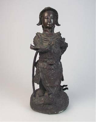 Rare Chinese 17th century Ming dynasty bronze figure of a guardian raised base