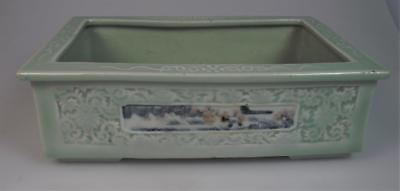 Chinese 19th century Yongzheng seal mark carved celadon underglazed red planter