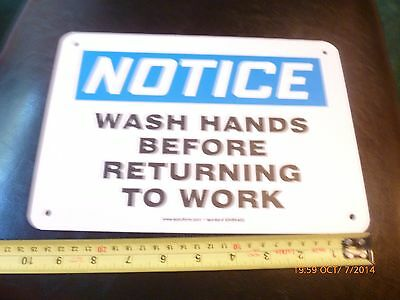 """WASH HANDS BEFORE RETURNING TO WORK -  vinyl sign  7"""" X 10"""""""