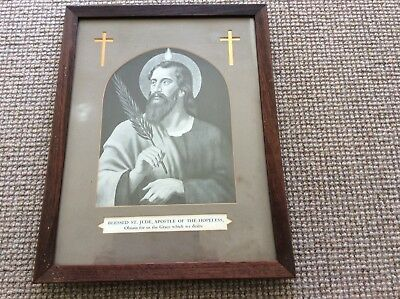 Vintage Framed Picture  Of Bllessed St.jude Apostle To The Hopeless  Religious