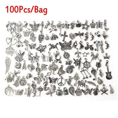 Fashion Wholesale 100pcs Bulk Lots Tibetan Silver Mix Charm Pendants Jewelry DIY