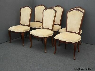 Vintage Kindel Set of Six French Provincial Dining Room Chairs w Yellow Velvet