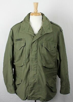 Vintage M-65 1975 Vietnam Era Army Field Jacket With Name Patch Large Short