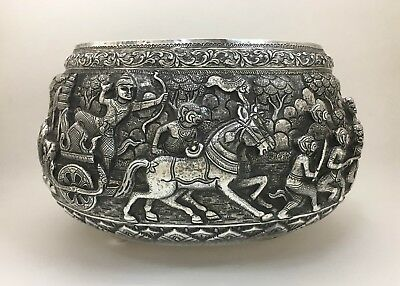 "Finest Asian Indian Burmese Large Sterling Silver Punch Bowl 12"" Dia 1500 Grams"