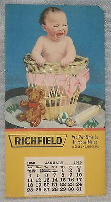 1959 RICHFIELD We Put SMILES in your MILES NEEDLES CALIFORNIA CALENDAR Intact