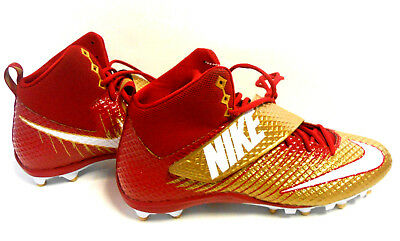 new arrival 9ce06 d2615 Nike Lunarbeast Strike Pro Red Gold Cleats Football 49ers 847554-728 Men  Size 13