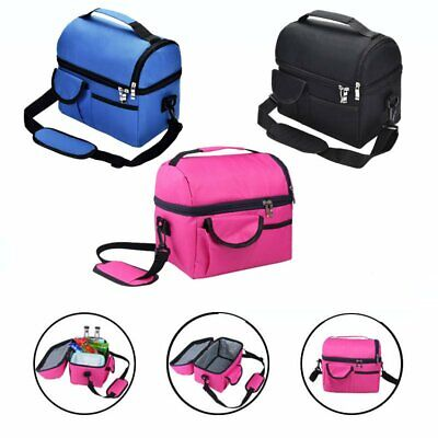 Dual Compartment Insulated Lunch Bag Cooler Lunch Box Tote School Picnic AU