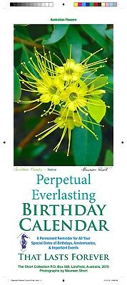 Perpetual Birthday Calendar- Australian Made- Flowers Theme +Free Greeting Card