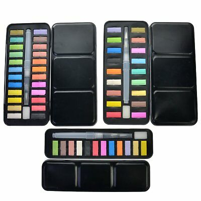 12/18/24 Colors Solid Watercolor Pigment Set With Water Brush Pen Art School